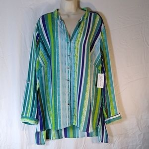 Plus size 3X Striped Blouse